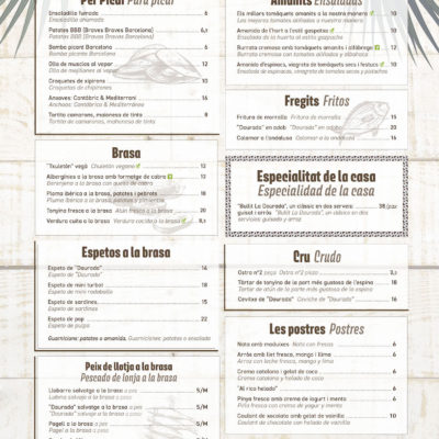 Carta 2018 Restaurante La Marabanda