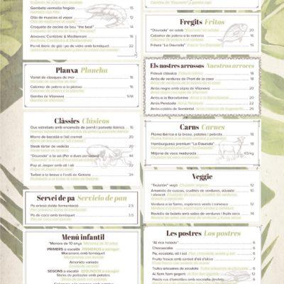 Carta 2018 Restaurante La Daurada
